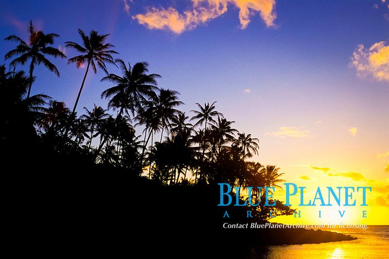 sunset on Na Pali Coast, Kauai Island, Hawaii, USA, USAan Islands, USAA (Central Pacific Ocean)