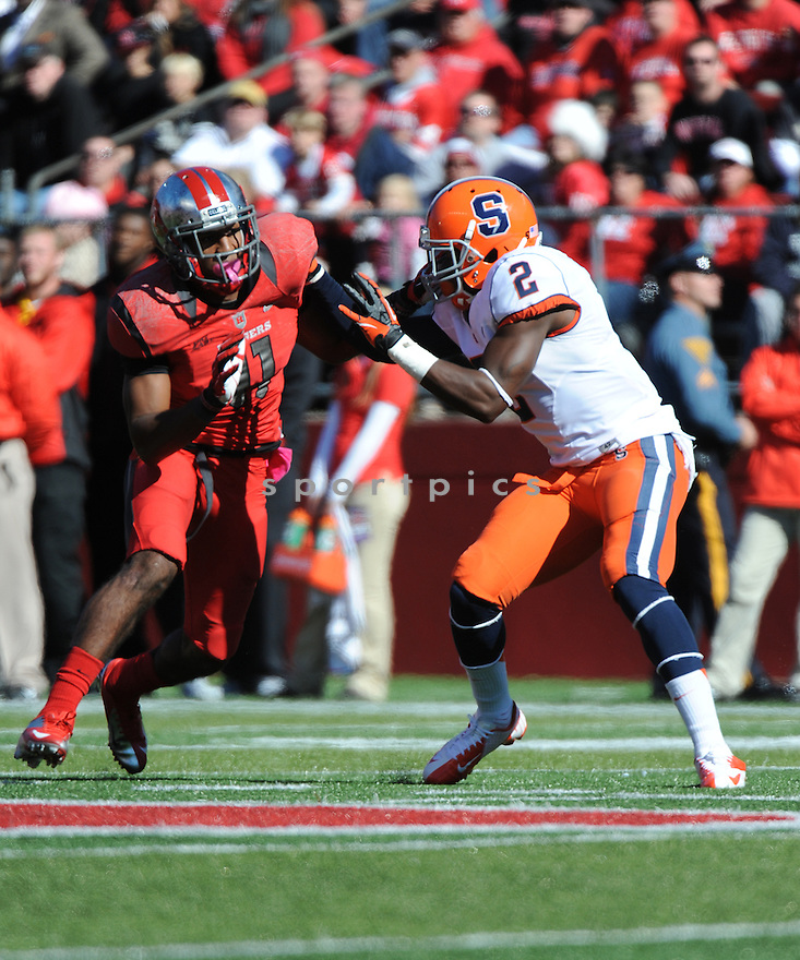 Rutgers University Scarlet Knights defensiveback Logan Ryan (11) during game against University of Syracuse Orangemen played at High Point Solutions Stadium on Saturday, October 13, 2012 in Philadelphia, PA. Rutgers defeated Syracuse 23-15.