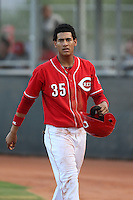 Jose Siri #35 of the AZL Reds during a game against the AZL Brewers at the Cincinnati Reds Spring Training Complex on July 5, 2014 in Goodyear Arizona. AZL Reds defeated the AZL Brewers, 7-2. (Larry Goren/Four Seam Images)