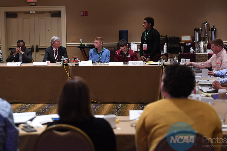 17 JAN 2017:  The NCAA Division III SAAC meeting takes place during the 2017 NCAA Convention takes place at the Gaylord Opryland Resort & Convention Center in Nashville, TN. Justin Tafoya/NCAA Photos (Pictured: Jessica Jean)