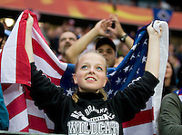 A USA fan cheers on her team before the final of the FIFA Women's World Cup at FIFA Women's World Cup Stadium in Frankfurt Germany.  Japan won the FIFA Women's World Cup on penalty kicks after tying the United States, 2-2, in extra time.