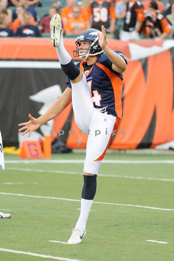 BRYAN COLQUITT, of the Denver Broncos  in action during the Broncos game against the Cincinnati Bengals at Paul Brown Stadium in Cincinnati, OH.  on August 20, 2010.  The Bengals beat the Broncos 22-9 in the second week of preseason games...