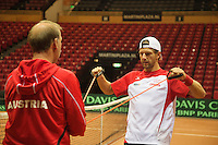 11-sept.-2013,Netherlands, Groningen,  Martini Plaza, Tennis, DavisCup Netherlands-Austria, practice,<br /> warming up,  Jurgen Melzer (AUT)<br /> Photo: Henk Koster