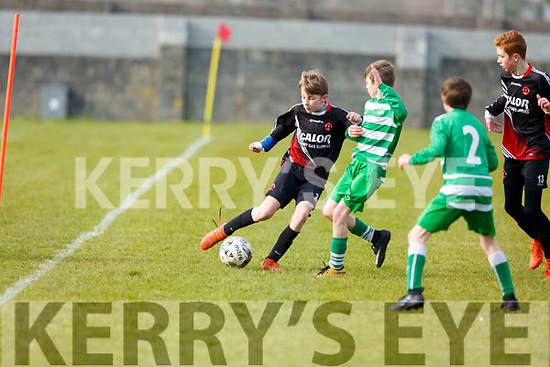 St Brendans Park Luke Casey clears the ball dispite the close marking from Killarneys Jason O'Sullivan during the  John Joe Naughton U13's Cup game, St Brendan's Park A v Killarney Celtic in Christy Leahy Park on Saturday last.