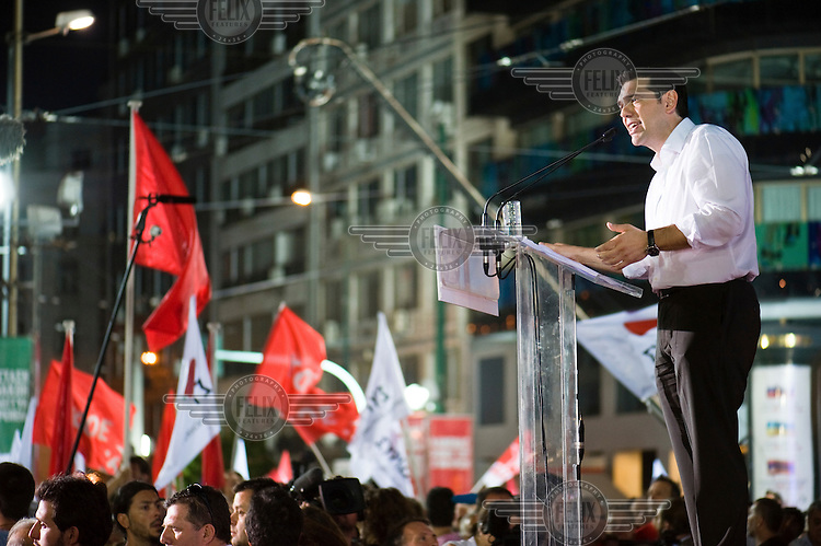 Alexis Tsipras, leader of the left wing Syriza coalition, speaking at the final campaign rally for the party ahead of the 17 June 2012 election on Omonia Square in Athens. The election saw New Democracy, the centre right party, win a small majority of the votes. ..