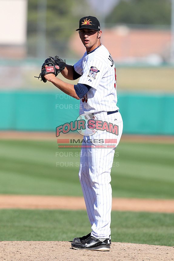Mesa Solar Sox pitcher Brett Jacobson #59 during an Arizona Fall League game against the Phoenix Desert Dogs at HoHoKam Park on November 3, 2011 in Mesa, Arizona.  Mesa defeated Phoenix 8-7.  (Mike Janes/Four Seam Images)