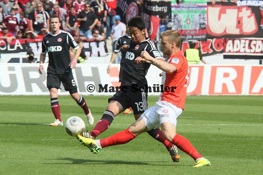 Johannes Geis (Mainz) gegen Hiroshi Kiyotake (Nürnberg) - 1. FSV Mainz 05 vs. 1. FC Nürnberg, Coface Arena,