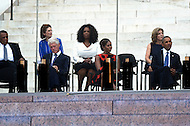 August 28, 2013  (Washington, DC)   (L-R) Fmr. Ambassador Andrew Young, Lynda Bird Johnson Robb, Bill Clinton, Oprah Winfrey, Michelle Obama, Amb. Caroline Kennedy, President Barack Obama listen to the closing commemoration of the 50th anniversary of the 1963 March on Washington August 28, 2013.  (Photo by Don Baxter/Media Images International)