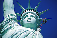 maintenance man repelling on Statue of Liberty at New York New York casino Las Vegas Nevada