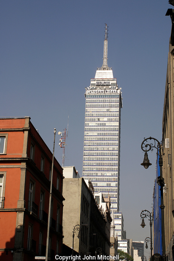 The Latin American Tower or Torre Latinoamericana, Mexico City. This was the tallest building in Latin America when it was built in 1952.