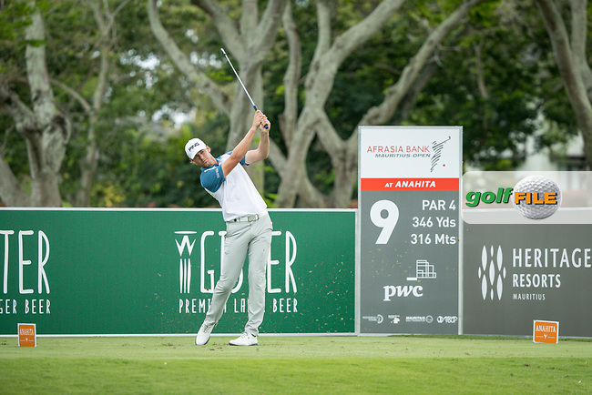 Victor Perez (FRA) on the 9th tee during the 3rd round of the AfrAsia Bank Mauritius Open, Four Seasons Golf Club Mauritius at Anahita, Beau Champ, Mauritius. 01/12/2018<br /> Picture: Golffile | Mark Sampson<br /> <br /> <br /> All photo usage must carry mandatory copyright credit (&copy; Golffile | Mark Sampson)