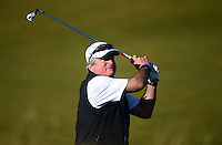 Ex-Cricketer Allan Lamb hits an approach during Round 1 of the 2015 Alfred Dunhill Links Championship at the Old Course, St Andrews, in Fife, Scotland on 1/10/15.<br /> Picture: Richard Martin-Roberts | Golffile