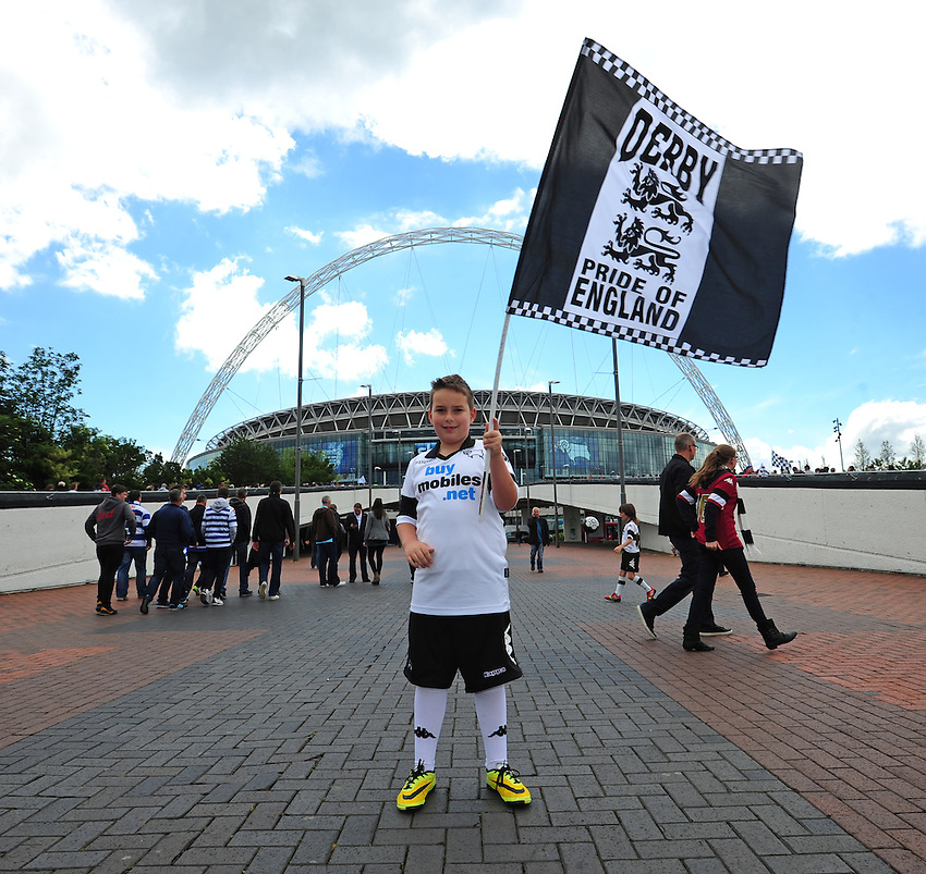 A young Derby County fan outside Wembley Stadium<br /> <br /> Photographer Chris Vaughan/CameraSport<br /> <br /> Football - The Football League Sky Bet Championship Play-Off Final - Derby County v Queens Park Rangers - Saturday 24th May 2014 - Wembley Stadium - London<br /> <br /> &copy; CameraSport - 43 Linden Ave. Countesthorpe. Leicester. England. LE8 5PG - Tel: +44 (0) 116 277 4147 - admin@camerasport.com - www.camerasport.com