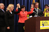 New York State Senator Kirsten Gillibrand stands with Democratic candidate Kathy Hochul along with her husband during a rally at UAW Union Hall on May 21, 2011 in Amherst, New York.  Hochul is running for the House of Representatives, NY-26th, in a special election to replace disgraced former Congressman Christopher Lee who abruptly resigned after a sex scandal.  Photo By Mike Janes/Four Seam Images