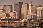 Sunrise on the skyline of Boston harbor, Boston, MA, USA