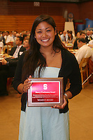 STANFORD, CA - June 12:  Athlete accepts the Sherry Posthumus team award for women's rugby during the 2008 Athletic Board Award Luncheon at the Ford Center in Stanford, California.
