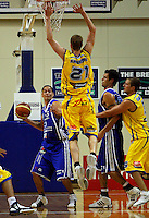 Otago's Jay Anderson leaps to block Troy McLean's long pass during the NBL Basketball match between Wellington Saints and Otago Nuggets at TSB Bank Arena, Wellington, New Zealand on Sunday, 30 March 2008. Photo: Dave Lintott / lintottphoto.co.nz