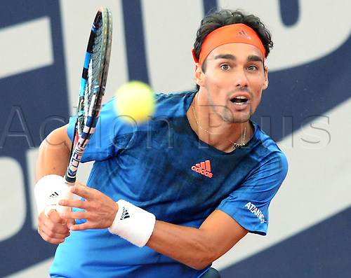 29.07.2015. Hamburg, Germany.  Fabio Fognini of Italy returns the ball to Albert Ramos-Vinolas of Spain during their second round match at the ATP tennis tournament in Hamburg, Germany, 29 July 2015.