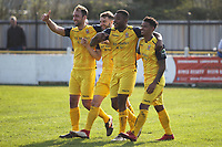 Christian Assombalonga scores and celebrates during Witham Town vs AFC Hornchurch, Bostik League Division 1 North Football at Spa Road on 14th April 2018