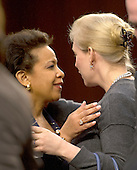 Loretta Lynch, United States Attorney For The Eastern District Of New York, U.S. Department of Justice, Brooklyn, NY hugs U.S. Senator Kirsten Gillibrand (Democrat of New York) after the Senator's introduction prior to testimony before the U.S. Senate Committee on the Judiciary to confirm Lynch's appointment as U.S. Attorney General on Capitol Hill in Washington, D.C. on Wednesday, January 28, 2015.  She will be replacing U.S. Attorney General Eric Holder.<br /> Credit: Ron Sachs / CNP<br /> (RESTRICTION: NO New York or New Jersey Newspapers or newspapers within a 75 mile radius of New York City)