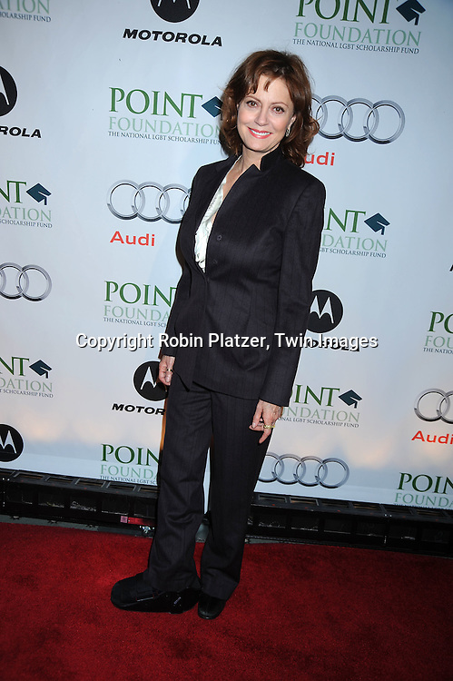"actress Susan Sarandon posing for photographers at the Point Foundations's Gala , ""Point Honors New York"" on April 19, 2010 at The Pierre Hotel in New York City. The Point Foundation is the nation's largest scholarship-granting organization for lesbian, gay, bisexual and transgender students of merit."