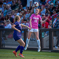 STANFORD, CA - OCTOBER 12: Beattie Goad #16 of the Stanford Cardinal heads the ball during a game between the Stanford Cardinal and Washington Huskies women's soccer teams at Cagan Stadium on October 6, 2019 in Stanford, California. during a game between University of Washington and Stanford Soccer W at Laird Q. Cagan Stadium on October 12, 2019 in Stanford, California.