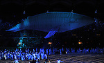 Migaloo The whale. Opening Ceremony. XXI Commonwealth games. Carrara Stadium. Gold Coast 2018. Queensland. Australia. 04/04/2018. ~ MANDATORY CREDIT Garry Bowden/SIPPA - NO UNAUTHORISED USE - +44 7837 394578