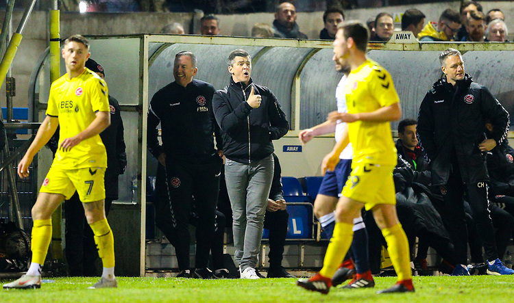 Fleetwood Town manager Joey Barton shouts instructions to his team from the technical area<br /> <br /> Photographer Alex Dodd/CameraSport<br /> <br /> The Emirates FA Cup Second Round - Guiseley v Fleetwood Town - Monday 3rd December 2018 - Nethermoor Park - Guiseley<br />  <br /> World Copyright &copy; 2018 CameraSport. All rights reserved. 43 Linden Ave. Countesthorpe. Leicester. England. LE8 5PG - Tel: +44 (0) 116 277 4147 - admin@camerasport.com - www.camerasport.com