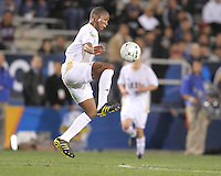 Darlington Naqbe #6 of the University of Akron controls a high cross during the 2010 College Cup semi-final against the University of Michigan at Harder Stadium, on December 10 2010, in Santa Barbara, California. Akron won 2-1.