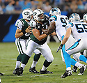 NICK MANGOLD, of the New York Jets in action during the Jets game against the Carolina Panthers  at Bank of America Stadium in Charlotte, N.C.  on August 21, 2010.  The Jets beat the Panthters 9-3 in the second week of preseason games...
