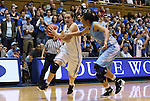 06 February 2012: Duke's Haley Peters (left) is defended by North Carolina's Chay Shegog (right). The Duke University Blue Devils defeated the University of North Carolina Tar Heels 96-56 at Cameron Indoor Stadium in Durham, North Carolina in an NCAA Division I Women's basketball game.