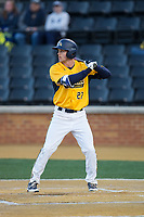 Luke Burch (27) of the Kent State Golden Flashes at bat against the Wake Forest Demon Deacons in game two of a double-header at David F. Couch Ballpark on March 4, 2017 in  Winston-Salem, North Carolina.  The Demon Deacons defeated the Golden Flashes 5-0.  (Brian Westerholt/Four Seam Images)