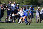 BROOKINGS, SD - SEPTEMBER 4:  Annie Williams #23 from South Dakota State kicks the ball away from Taryn Jakubowski #19 from Creighton during their match Sunday afternoon at Fischback Soccer Complex in Brookings. (Photo by Dave Eggen/Inertia)