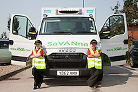 Six year olds Savanna Tate (left) and Savanah Ibbeson with the ASDA delivery van they named