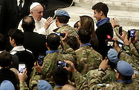 Papa Francesco benedice soldati argentini delle Nazioni Unite al termine dell'Udienza Generale del mercoledi' in aula Paolo VI, Citta' del Vaticano, 14 dicembre 2016.<br /> Pope Francis blesses Argentinian soldiers of the United Nations at the end of his weekly general audience in Paul VI Hall at the Vatican, on December 14, 2016.<br /> UPDATE IMAGES PRESS/Isabella Bonotto<br /> <br /> STRICTLY ONLY FOR EDITORIAL USE