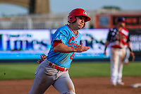 Peoria Chiefs outfielder Bryce Denton (25) rounds third base during a Midwest League game against the Quad Cities River Bandits on May 27, 2018 at Modern Woodmen Park in Davenport, Iowa. Quad Cities defeated Peoria 8-3. (Brad Krause/Four Seam Images)