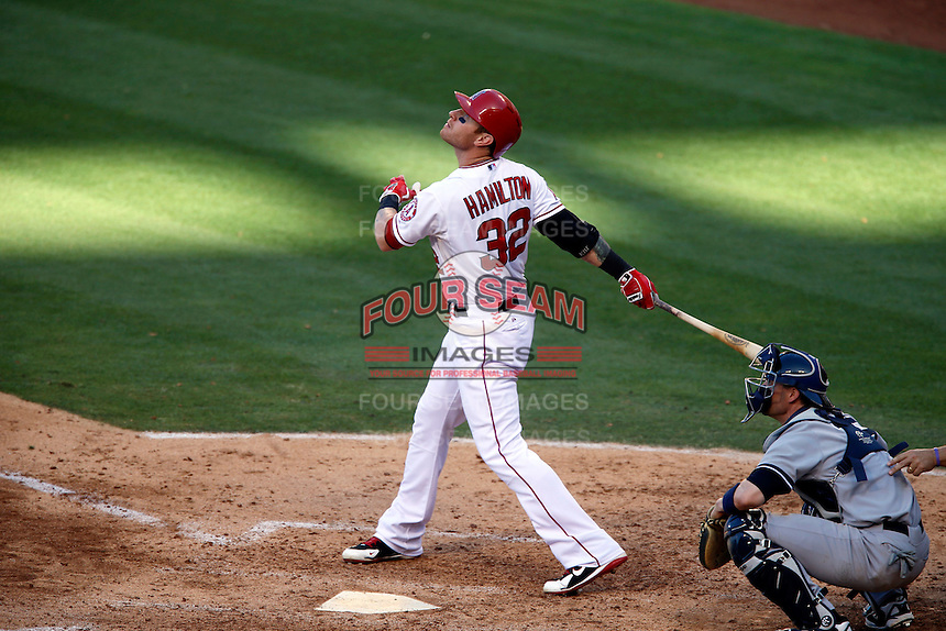 Josh Hamilton #32 of the Los Angeles Angels bats against the New York Yankees at Angel Stadium on June 15, 2013 in Anaheim, California. (Larry Goren/Four Seam Images)