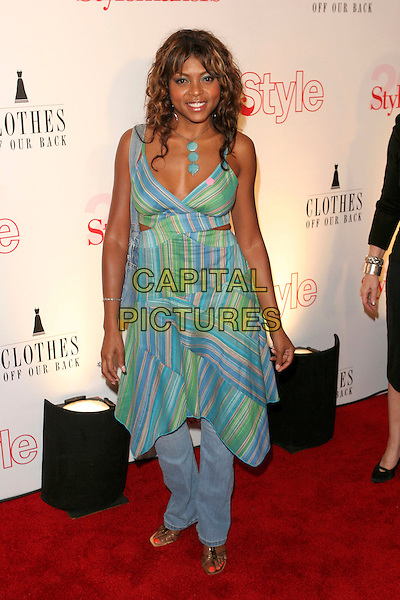 TARAJI HENSON.Attends Life & Style Magazine Presents Stylemakers 2005 held at the Monmartre Lounge, Hollywood, California. USA, 26 May 2005. .full length green blue patterned print striped dress over jeans.Ref: ADM.www.capitalpictures.com.sales@capitalpictures.com.©Zach Lipp /AdMedia/Capital Pictures.