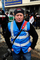 English Defence League (EDL) demonstration<br /> called in protest to the proposed building of a new mosque in Dudley.<br /> A member of the English Defence Legal Team media team.