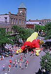 "Sentinel/Dan Irving.ON PARADE:  A large team of people keeps control of the ""Captain Safety"" balloon during yesterday's Tulip Parade.  This was the first year in which giant balloons have been used during the festival..5/17/98."