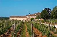 A view over the vineyard, building and winery, Chateau Valandraud Saint Emilion Bordeaux Gironde Aquitaine France