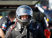 Feb 12, 2016; Pomona, CA, USA; NHRA funny car driver Terry Haddock during qualifying for the Winternationals at Auto Club Raceway at Pomona. Mandatory Credit: Mark J. Rebilas-USA TODAY Sports