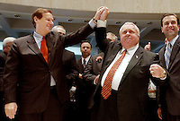 TALLAHASSEE, FL. 5/2/03-Senate President Jim King, R-Jacksonville, right, play punches House Speaker Johnnie Byrd, R-Plant City, left, after they greeted each other at the close of the regular legislative session Friday at the Capitol in Tallahassee. The leaders adjourned their chambers without passing a budget and many of the major issues. Sen. Alex Diaz de la Portilla, R-Miami, is at right...COLIN HACKLEY PHOTO