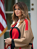 "First lady Melania Trump looks on as United States President Donald J. Trump makes remarks at the National Thanksgiving Turkey Pardoning Ceremony in the Rose Garden of the White House in Washington, DC on Tuesday, November 20, 2018.  According to the White House Historical Association, the ceremony originated in 1863 when US President Abraham Lincoln's granted clemency to a turkey. The tradition jelled in 1989 when US President George HW Bush stated ""But let me assure you, and this fine tom turkey, that he will not end up on anyone's dinner table, not this guy -- he's granted a Presidential pardon as of right now -- and allow him to live out his days on a children's farm not far from here.""<br /> Credit: Ron Sachs / CNP<br /> (RESTRICTION: NO New York or New Jersey Newspapers or newspapers within a 75 mile radius of New York City)"