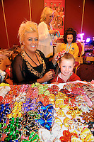 13-4-2014:  DaRihanna O'Donnell and her mother Paula from Scotland choosing colourful apparel  at the World Irish Dancing Championships in Killarney at the weekend.<br /> Picture by Don MacMonagle