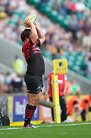 Jamie George of Saracens throws in at the lineout during the Aviva Premiership match between Saracens and London Irish at Twickenham on Saturday 1st September 2012 (Photo by Rob Munro)