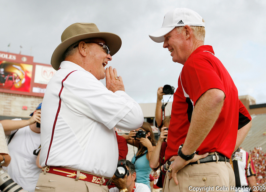 TALLAHASSEE, FL 10/31/09-FSU-NCST FB09 CH06-Florida State Head Coach Bobby Bowden, left, talks with N.C. State Head Coach Tom O'Brien prior to the game Saturday at Doak Campbell Stadium in Tallahassee. .COLIN HACKLEY PHOTO