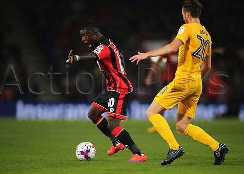 20.09.2016. Vitality Stadium, Bournemouth, England. Football League Cup Football. Bournemouth versus Preston. Bournemouth Forward Max Gradel asks for movement during a Bournemouth attack