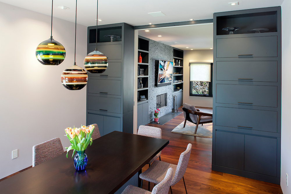 Dining Room with Lutron Lighting & Shade control.