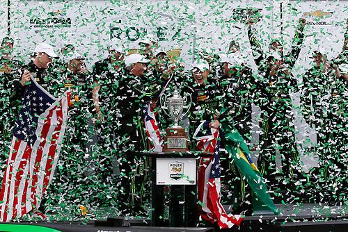 28-31 January, 2016, Daytona Beach, Florida USA<br /> , 2, Honda HPD, Ligier JS P2, P, Scott Sharp, Ed Brown, Joannes van Overbeek, Luis Felipe Derani, podium<br /> ©2016, Michael L. Levitt<br /> LAT Photo USA